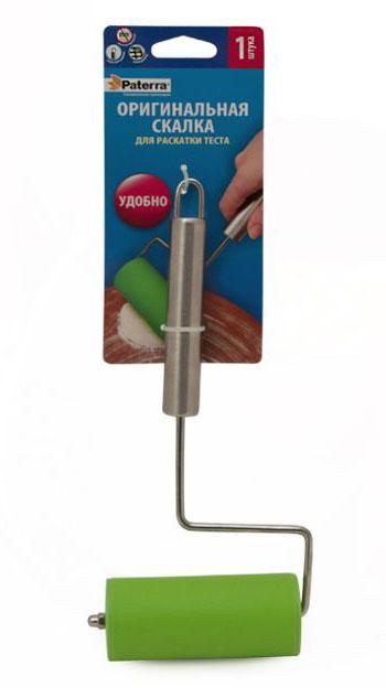 Скалка Paterra для раскатки теста68/5/4Скалка Paterra поможет там, где большая скалка будет неудобна - на противне или в форме для запекания. Идеальная для раскатки порционных кусочков теста.Изделие выполнено из металла, силикона и пластика.