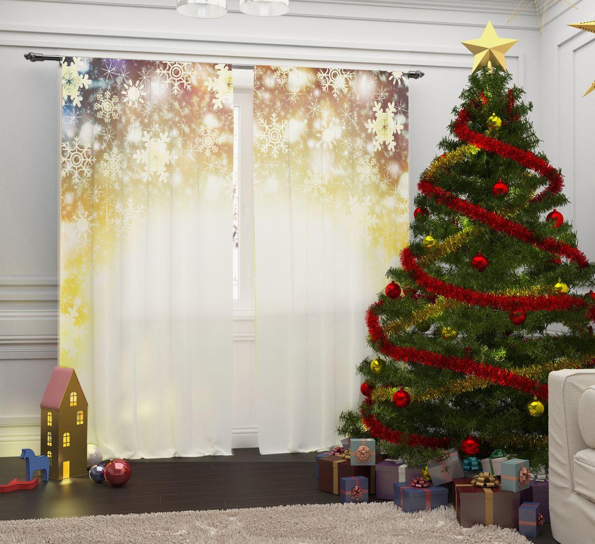 Комплект фототюлей Сирень Снежинки в ярких огнях, на ленте, высота 260 см