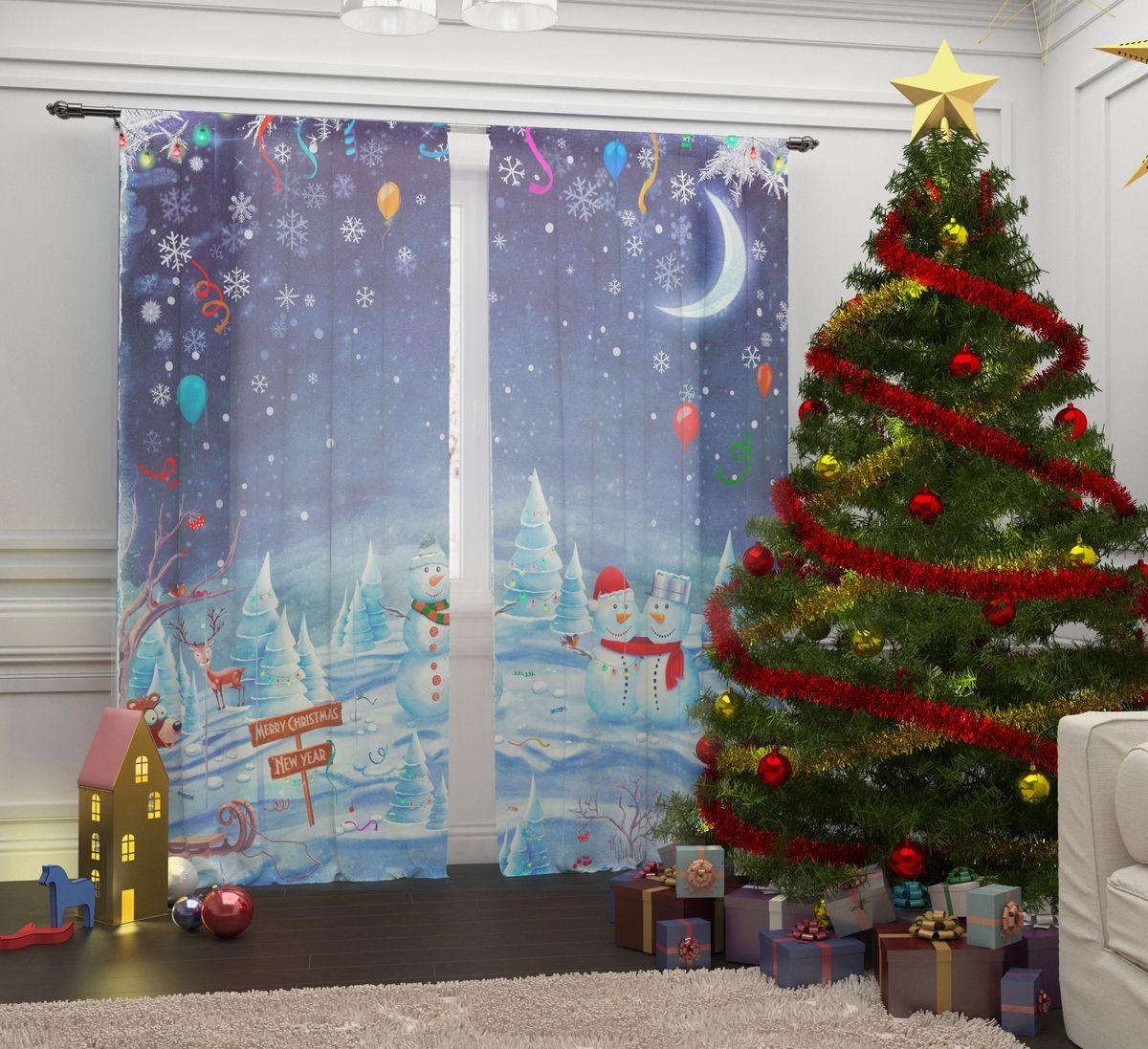 Фототюль Сирень Встреча Рождества, на ленте, высота 260 см фотошторы встреча рождества сирень