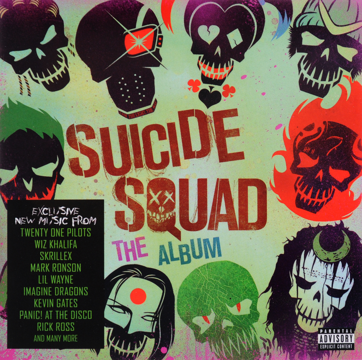 Skrillex,Лил Вэйн,Twenty One Pilots,G-Eazy,Эминем,Panic! At The Disco,Creedence Clearwater Revival,Action Bronson,Марк Ронсон,Дэн Ауэрбах Suicide Squad. The Album