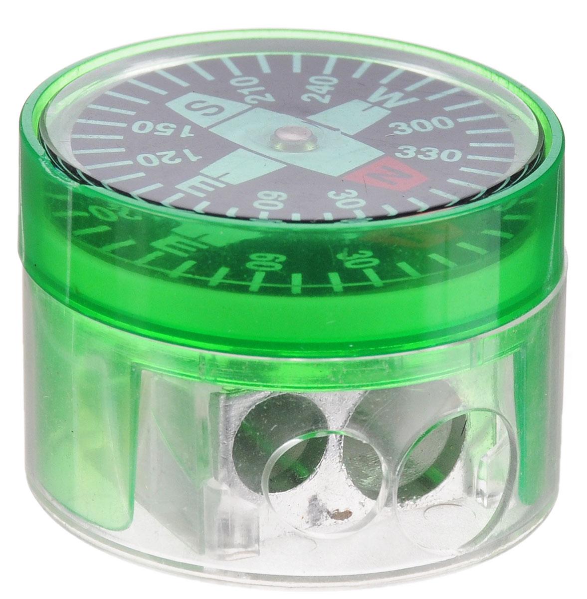 Brunnen Точилка двойная Компас цвет зеленыйSG.Е-PP/M*Двойная точилка Brunnen Компас выполнена из прочного пластика.В точилке имеются два отверстия для карандашей различного диаметра. Подходит для разных видов карандашей. При повороте пластикового контейнера, отверстия закрываются.Полупрозрачный контейнер для сбора стружки позволяет визуально контролировать уровень заполнения и вовремя производить очистку. В крышку контейнера встроен небольшой компас.