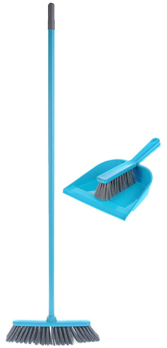 Набор для уборки York Combi, цвет: бирюзовый, серый, 3 предмета787502Комплект для уборки York Combi состоит из щетки, щетки-сметки и совка. Все изделия изготовлены из высококачественного пластика. Вместительный совок удерживает собранный мусор, позволит эффективно и быстро совершить уборку в любом помещении, а сглаженный край совка обеспечивает наиболее плотное прилегание к полу. Щетка имеет удобную форму, позволяющую вымести мусор даже из труднодоступных мест. Предметы набора оснащены удобными ручками с отверстиями для подвешивания. С комплектом для уборки York Combi уборка станет легче и приятнее.Общая длина щетки-метелки: 117 см.Длина ворса щетки-метелки: 7 см.Общая длина щетки-сметки: 26 см.Длина ворса щетки-сметки: 5 см.Длина совка: 32,5 см.Размер рабочей части совка: 23 х 22 х 5 см.