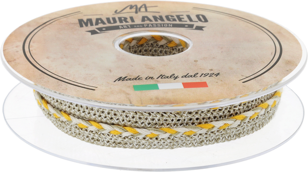 Лента кружевная Mauri Angelo, цвет: серый, желтый, 1,3 см х 10 мNLED-454-9W-BKДекоративная кружевная лента Mauri Angelo - текстильное изделие без тканой основы, в котором ажурный орнамент и изображения образуются в результате переплетения нитей. Кружево применяется для отделки одежды, белья в виде окаймления или вставок, а также в оформлении интерьера, декоративных панно, скатертей, тюлей, покрывал. Главные особенности кружева - воздушность, тонкость, эластичность, узорность.Декоративная кружевная лента Mauri Angelo станет незаменимым элементом в создании рукотворного шедевра. Ширина: 1,3 см.Длина: 10 м.