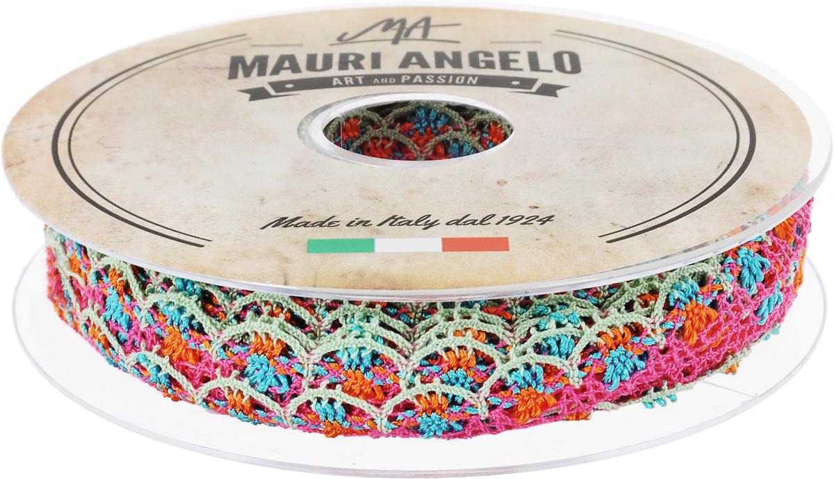 Лента кружевная Mauri Angelo, цвет: розовый, голубой, оранжевый, 1,8 см х 20 м. MR8849/MC/5NLED-454-9W-BKДекоративная кружевная лента Mauri Angelo - текстильное изделие без тканой основы, в котором ажурный орнамент и изображения образуются в результате переплетения нитей. Кружево применяется для отделки одежды, белья в виде окаймления или вставок, а также в оформлении интерьера, декоративных панно, скатертей, тюлей, покрывал. Главные особенности кружева - воздушность, тонкость, эластичность, узорность.Декоративная кружевная лента Mauri Angelo станет незаменимым элементом в создании рукотворного шедевра. Ширина: 1,8 см.Длина: 20 м.