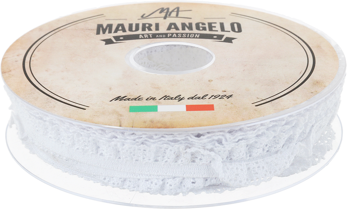 Лента кружевная Mauri Angelo, цвет: белый, 1,4 см х 20 м. MR1317EL/PL/1007NLED-454-9W-BKДекоративная кружевная лента Mauri Angelo выполнена из высококачественных материалов. Кружево применяется для отделки одежды, постельного белья, а также в оформлении интерьера, декоративных панно, скатертей, тюлей, покрывал. Главные особенности кружева - воздушность, тонкость, эластичность, узорность.Такая лента станет незаменимым элементом в создании рукотворного шедевра.