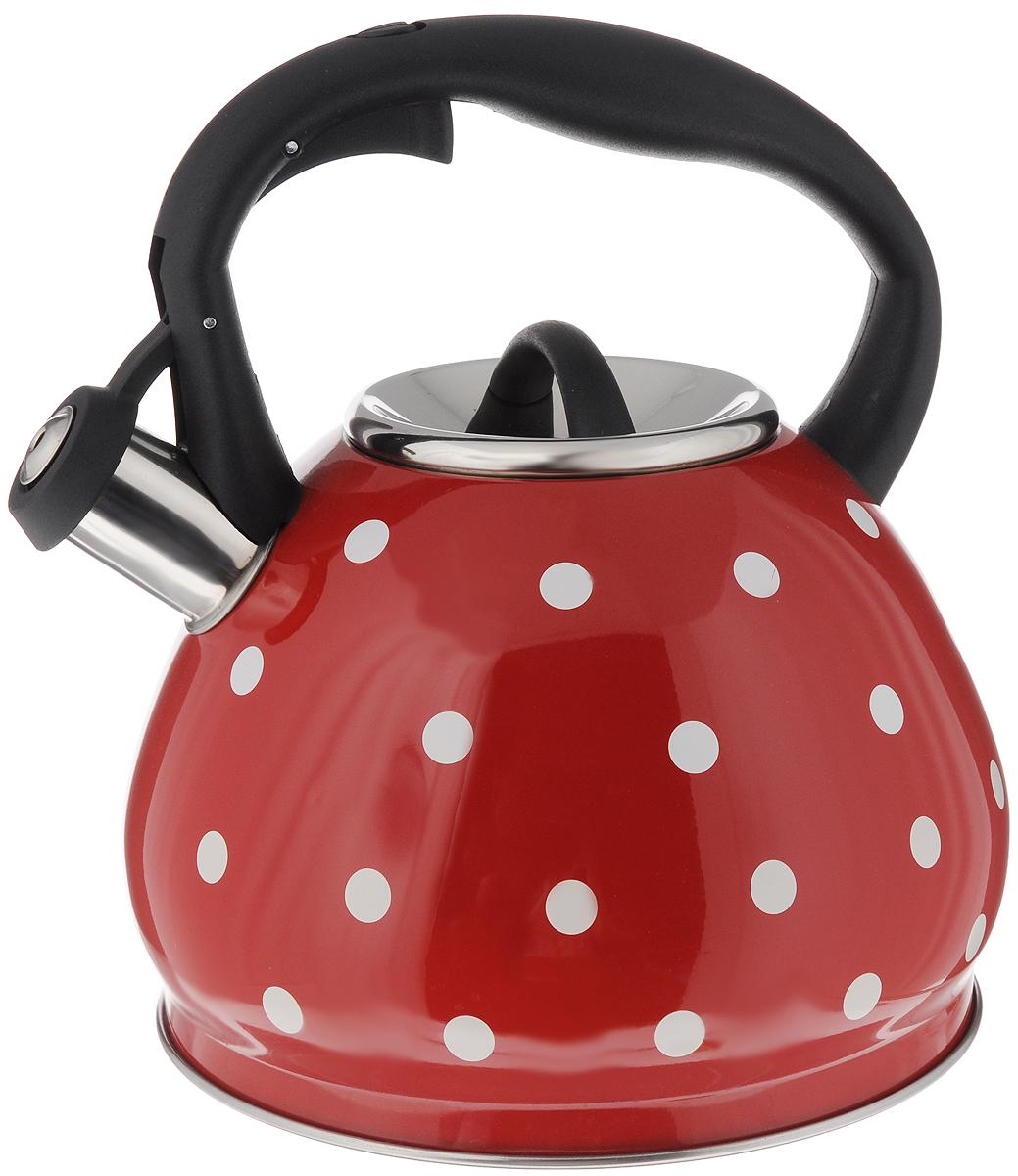 Чайник Hoffmann, со свистком, цвет: красный, черный, 3,5 л115510Чайник Hoffmann выполнен из высококачественной нержавеющей стали, что делает его весьма гигиеничным и устойчивым к износу при длительном использовании. Носик чайника оснащен насадкой-свистком, что позволит вам контролировать процесс подогрева или кипячения воды. Фиксированная ручка, изготовленная из пластика, оснащена механизмом открывания носика. Эстетичный и функциональный чайник будет оригинально смотреться в любом интерьере.Подходит для всех типов плит, включая индукционные. Можно мыть в посудомоечной машине. Высота чайника (с учетом ручки и крышки): 23 см.Диаметр чайника (по верхнему краю): 10 см.Диаметр основания: 19,5 см.