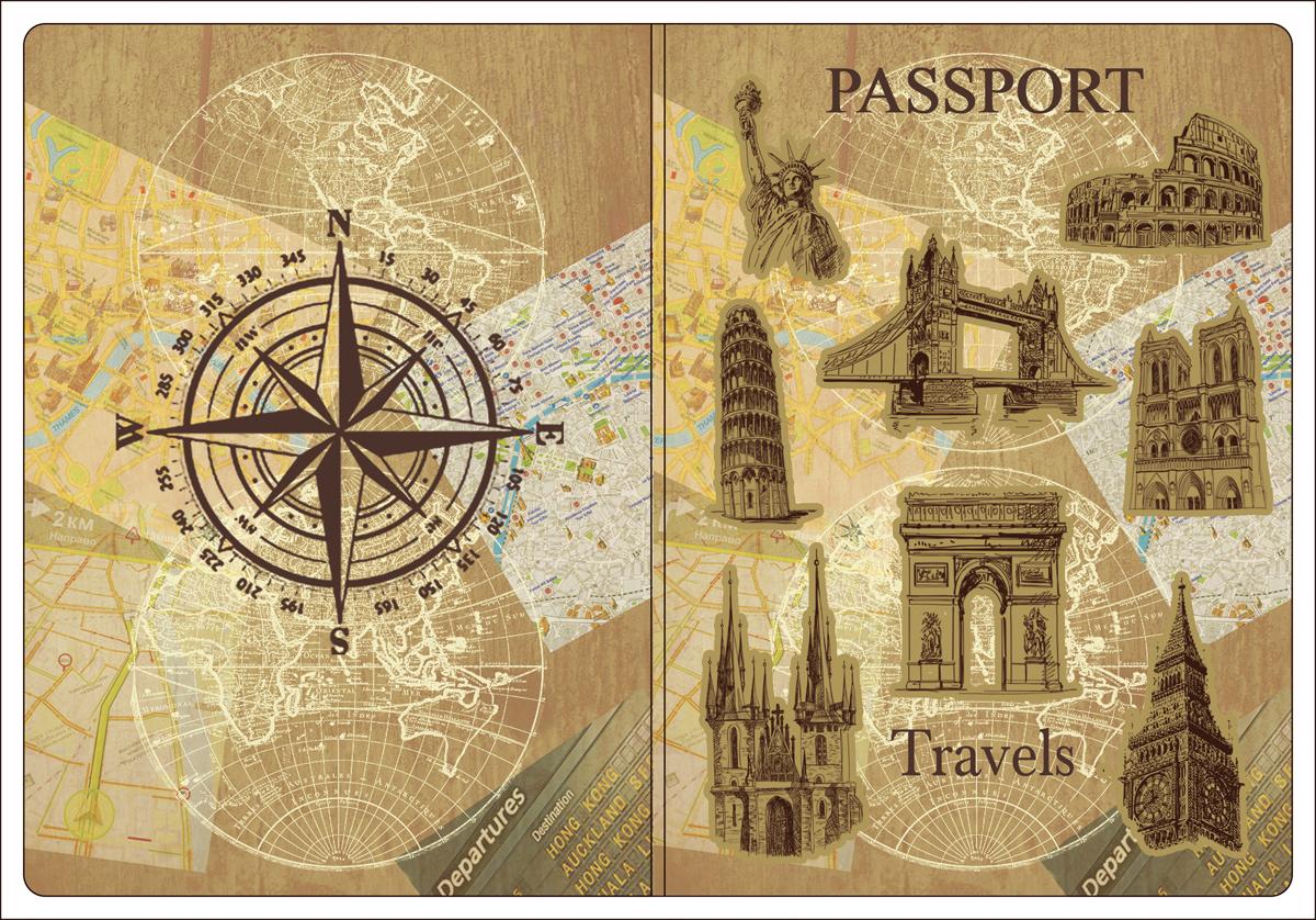 Обложка для паспорта Magic Home, цвет: бежевый, коричневый. 4451511379833-BLKОбложка для паспорта от Magic Home классической модели выполнена из поливинилхлорида. Модель с широкими полями, оформлена оригинальным принтом.