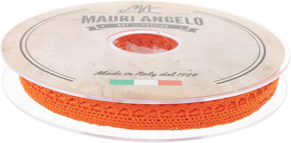 Лента кружевная Mauri Angelo, цвет: оранжевый, 0,9 см х 20 мNLED-454-9W-BKДекоративная кружевная лента Mauri Angelo - текстильное изделие без тканой основы, в котором ажурный орнамент и изображения образуются в результате переплетения нитей. Кружево применяется для отделки одежды, белья в виде окаймления или вставок, а также в оформлении интерьера, декоративных панно, скатертей, тюлей, покрывал. Главные особенности кружева - воздушность, тонкость, эластичность, узорность.Декоративная кружевная лента Mauri Angelo станет незаменимым элементом в создании рукотворного шедевра. Ширина: 0,9 см.Длина: 20 м.