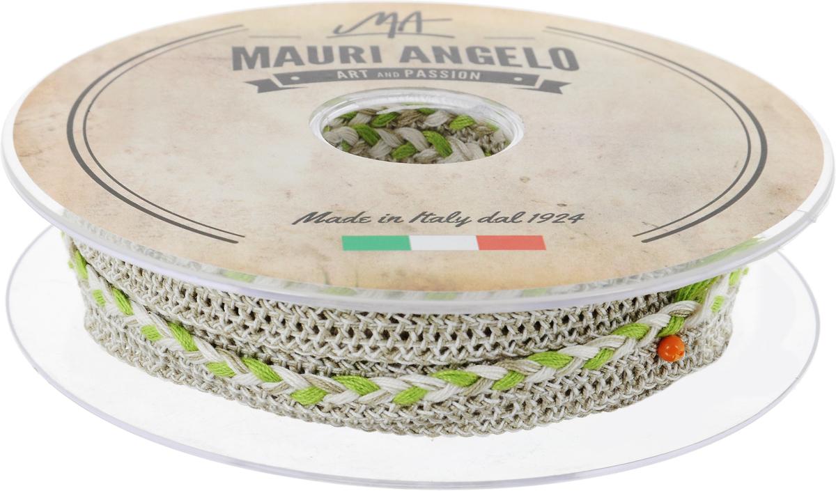 Лента кружевная Mauri Angelo, цвет: серый, салатовый, 1,3 см х 10 мAL-017Декоративная кружевная лента Mauri Angelo - текстильное изделие без тканой основы, в котором ажурный орнамент и изображения образуются в результате переплетения нитей. Кружево применяется для отделки одежды, белья в виде окаймления или вставок, а также в оформлении интерьера, декоративных панно, скатертей, тюлей, покрывал. Главные особенности кружева - воздушность, тонкость, эластичность, узорность.Декоративная кружевная лента Mauri Angelo станет незаменимым элементом в создании рукотворного шедевра. Ширина: 1,3 см.Длина: 10 м.