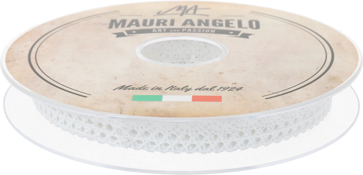 Лента кружевная Mauri Angelo, цвет: белый, 1,4 см х 20 мNLED-454-9W-BKДекоративная кружевная лента Mauri Angelo - текстильное изделие без тканой основы, в котором ажурный орнамент и изображения образуются в результате переплетения нитей. Кружево применяется для отделки одежды, белья в виде окаймления или вставок, а также в оформлении интерьера, декоративных панно, скатертей, тюлей, покрывал. Главные особенности кружева - воздушность, тонкость, эластичность, узорность.Декоративная кружевная лента Mauri Angelo станет незаменимым элементом в создании рукотворного шедевра. Ширина: 1,4 см.Длина: 20 м.