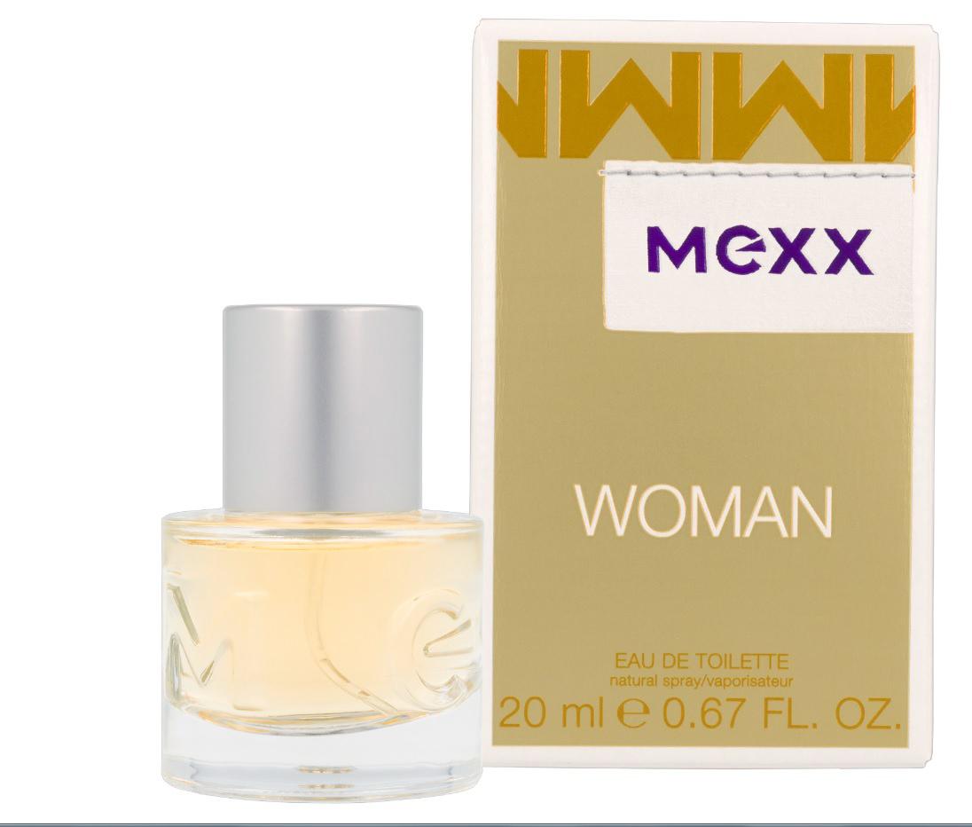 Mexx Woman Туалетная вода 20 мл0737052682358Woman - очень женственный и уверенный аромат. Классификация аромата: цветочный, восточный. Пирамида аромата: верхние ноты: бергамот, черная смородина, лимон, ноты сердца: роза, жасмин, ландыш, ноты шлейфа: сандал, кедр, амбра.Верхняя нота: Бергамот, Черная смородина.Средняя нота: Ландыш, Роза, Жасмин.Шлейф: Амбра.Женственная комбинация фруктовых, цветочных и древесных нот.Дневной и вечерний аромат.