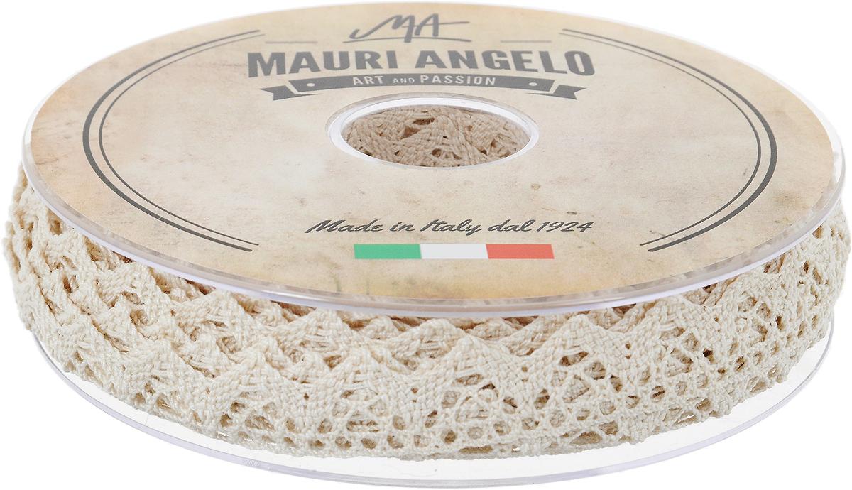 Лента кружевная Mauri Angelo, цвет: бежевый, 1,8 см х 20 мNLED-454-9W-BKДекоративная кружевная лента Mauri Angelo - текстильное изделие без тканой основы, в котором ажурный орнамент и изображения образуются в результате переплетения нитей. Кружево применяется для отделки одежды, белья в виде окаймления или вставок, а также в оформлении интерьера, декоративных панно, скатертей, тюлей, покрывал. Главные особенности кружева - воздушность, тонкость, эластичность, узорность.Декоративная кружевная лента Mauri Angelo станет незаменимым элементом в создании рукотворного шедевра. Ширина: 1,8 см.Длина: 20 м.