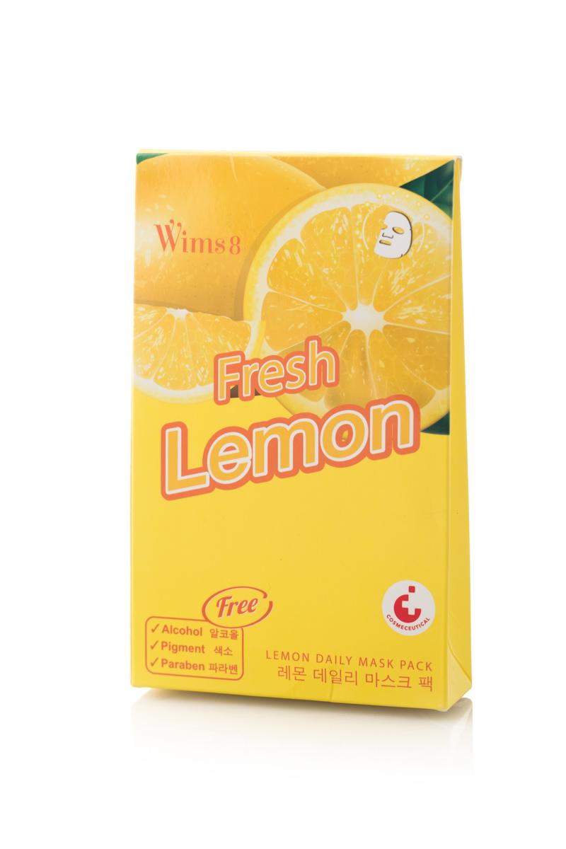 Маска Wims8 Lemon Daily Mask Pack, упаковка 5 штFS-00897Маска предназначена для ухода за кожей лица. Действие маски направлено наантибактериальное, тонизирующее действие, улучшение обмена веществ иукрепление кровеносных сосудов. Экстракт лимона стимулирует процесс регенерации клеток кожи и обладает омолаживающим действием.
