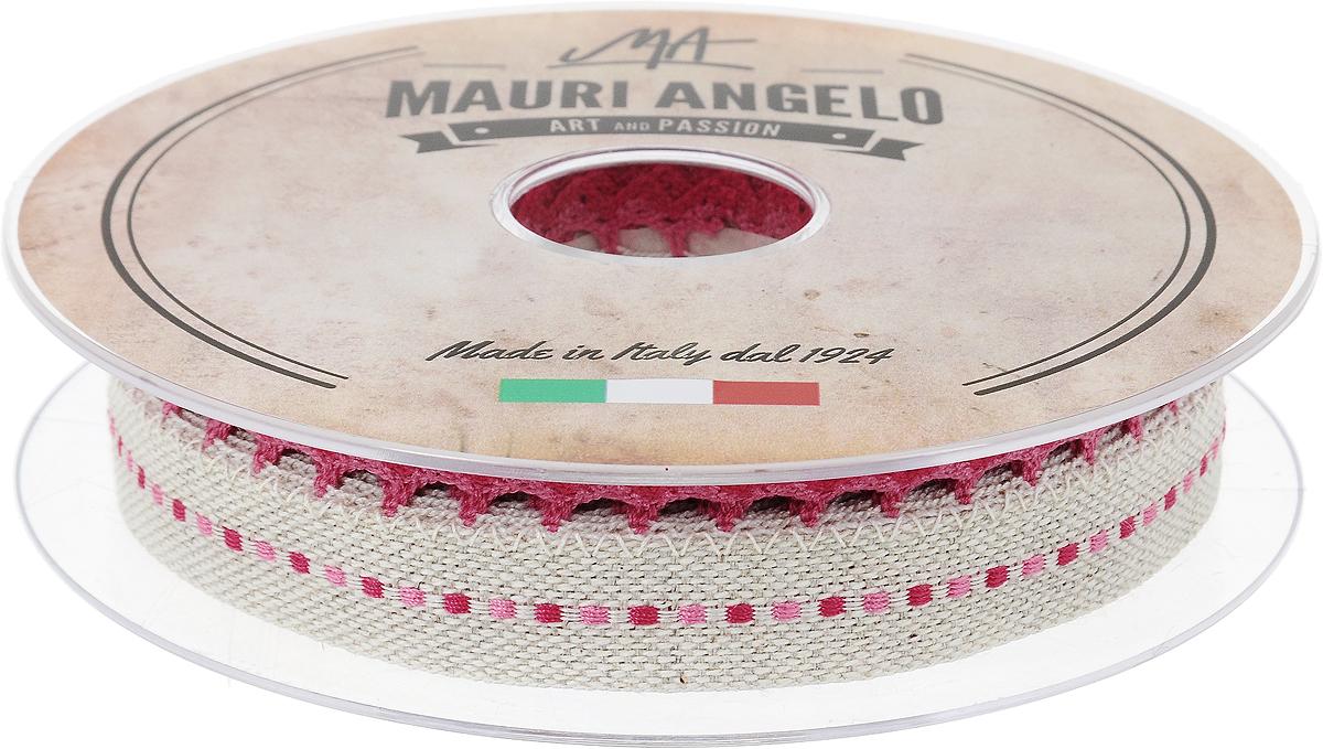 Лента декоративная Mauri Angelo, цвет: бежевый, розовый, 2,4 см х 10 мNLED-454-9W-BKДекоративная кружевная лента Mauri Angelo выполнена из высококачественного хлопка, льна и полиэстера. Кружево применяется для отделки одежды, постельного белья, а также в оформлении интерьера, декоративных панно, скатертей, тюлей, покрывал. Главные особенности кружева - воздушность, тонкость, эластичность, узорность.Такая лента станет незаменимым элементом в создании рукотворного шедевра.