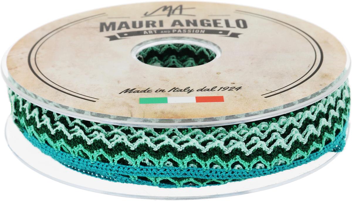 Лента кружевная Mauri Angelo, цвет: темно-зеленый, светло-зеленый, бирюзовый, 1,45 см х 20 мNLED-454-9W-BKДекоративная кружевная лента Mauri Angelo выполнена из высококачественного полиэстера. Кружево применяется для отделки одежды, постельного белья, а также в оформлении интерьера, декоративных панно, скатертей, тюлей, покрывал. Главные особенности кружева - воздушность, тонкость, эластичность, узорность.Такая лента станет незаменимым элементом в создании рукотворного шедевра.