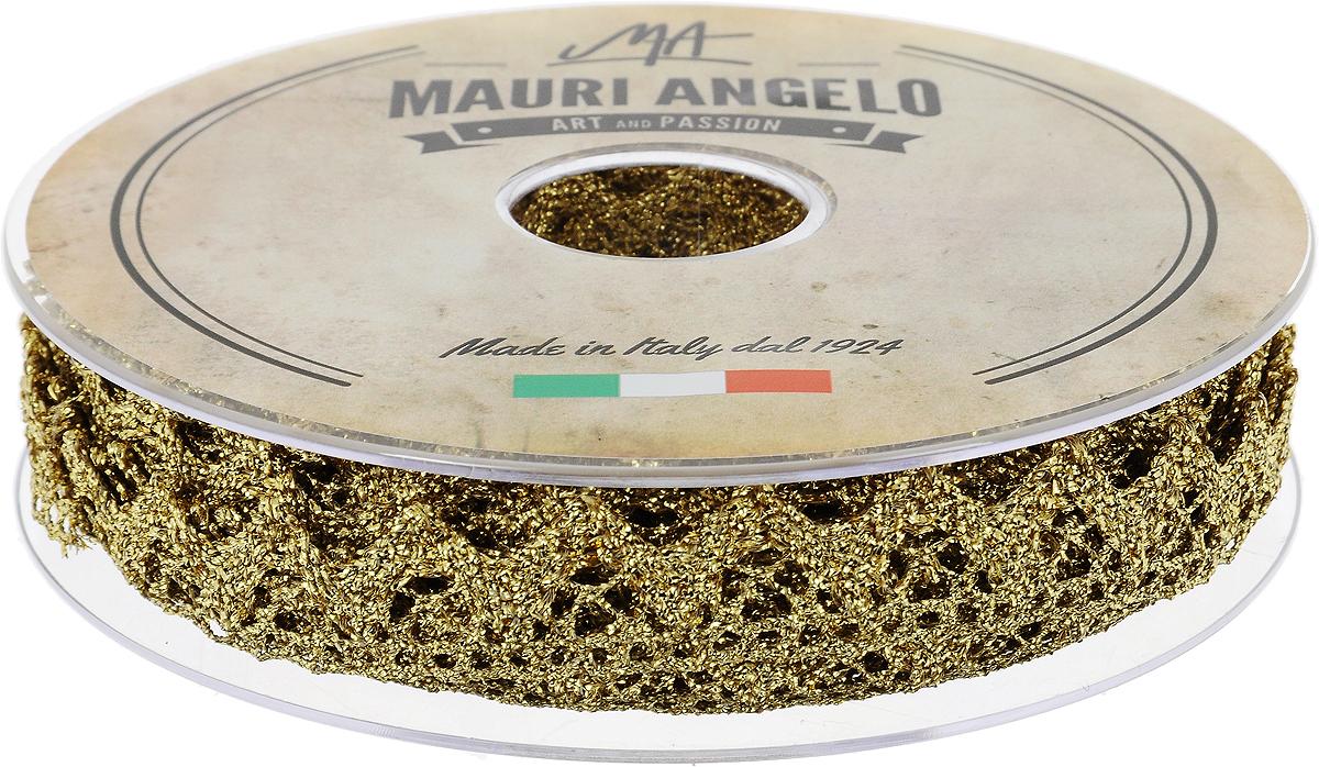 Лента кружевная Mauri Angelo, цвет: золотой, 1,8 см х 20 мNLED-454-9W-BKДекоративная кружевная лента Mauri Angelo - текстильное изделие без тканой основы, в котором ажурный орнамент и изображения образуются в результате переплетения нитей. Кружево применяется для отделки одежды, белья в виде окаймления или вставок, а также в оформлении интерьера, декоративных панно, скатертей, тюлей, покрывал. Главные особенности кружева - воздушность, тонкость, эластичность, узорность.Декоративная кружевная лента Mauri Angelo станет незаменимым элементом в создании рукотворного шедевра. Ширина: 1,8 см.Длина: 20 м.