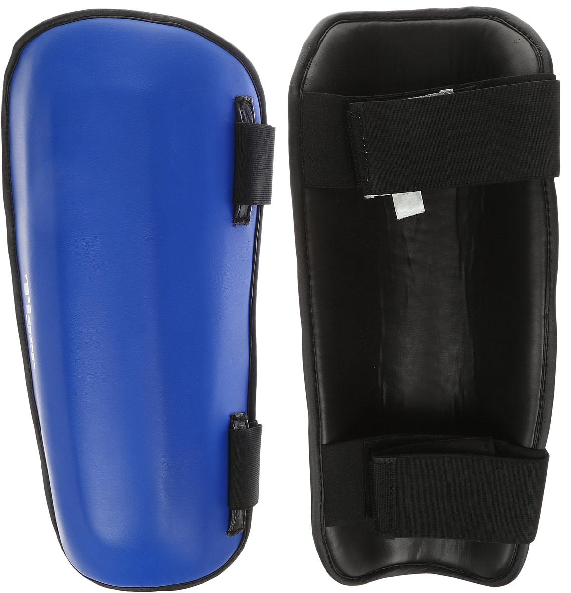 Защита голени Green Hill Tiger, цвет: синий, белый. Размер XL. SPT-2123AIRWHEEL M3-162.8Защита голени Green Hill Tiger с наполнителем, выполненным из вспененного полимера, необходима при занятиях спортом для защиты суставов от вывихов, ушибов и прочих повреждений. Накладки выполнены из высококачественной натуральной кожи. Закрепляются на ноге при помощи эластичных лент и липучек.Длина голени: 36 см.Ширина голени: 15 см.
