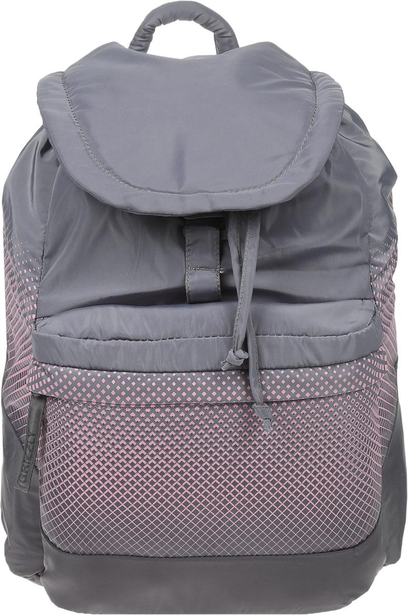 Рюкзак городской женский Grizzly, цвет: серый, светло-розовый, 22 л. RD-748-1/4
