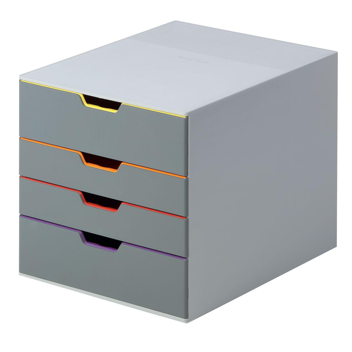 Короб для документов Durable Varicolor. 7604-27BL-1BСтильный короб для документов с 4 выдвижными цветными ящичками Durable Varicolor выполнен из высококачественного пластика. Боксы можно устанавливать друг на друга, фиксируются при помощи резиновых ножек. Широкие лотки для удобного хранения большого количества документов.Выдвижные ящички выполнены в разных цветах, что позволяет группировать документы по тематикам и быстро их находить. Подходят для форматов А4, С4, Folio.Бокс оснащен стопорами, которые не позволяют выпасть лоткам при резком открывании, а также съемными табуляторами для маркировки. Не скользит даже на самых гладких поверхностях благодаря силиконовым ножкам.
