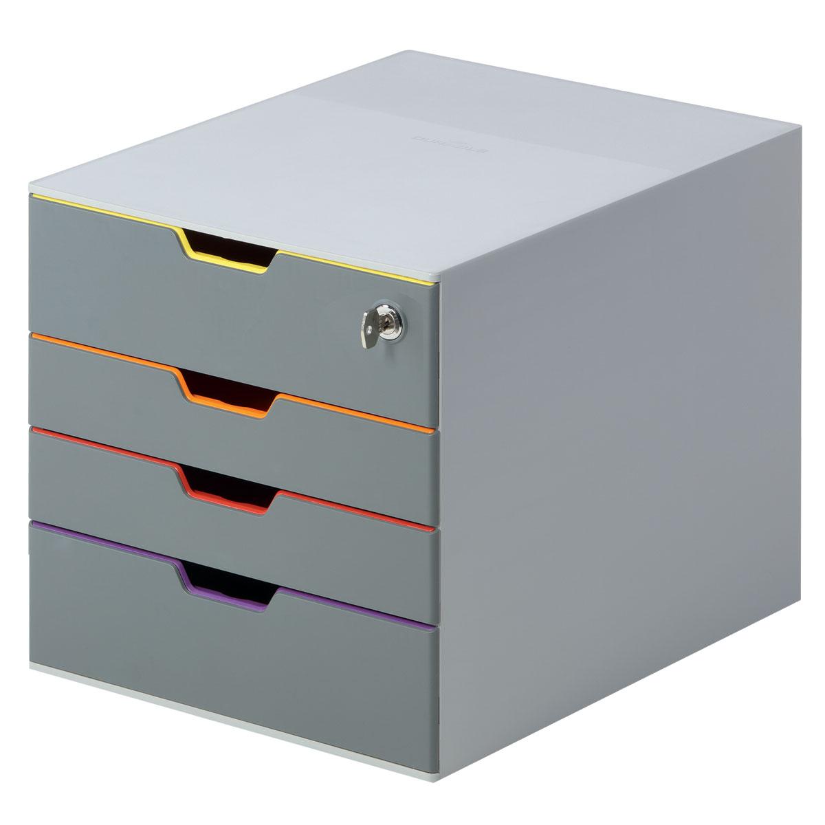 Короб для документов Durable Varicolor. 7606-2712723Короб для документов Durable Varicolor выполнен из высококачественного пластика. Выдвижные ящики закрытого типа, оснащены стопорами и табуляторами для маркировки. Боксы можно устанавливать друг на друга, фиксируются при помощи резиновых ножек. Стильный короб для документов с 4 выдвижными цветными ящичками. Выполнен из пластика премиального качества. Широкие лотки для удобного хранения большого количества документов. Верхний лоток запирается на замок, что позволяет хранить в боксе ценные бумаги и аксессуары.Выдвижные ящички выполнены в разных цветах, что позволяет группировать документы по тематикам и быстро их находить. Подходят для форматов А4, С4, Folio.Бокс оснащен стопорами, которые не позволяют выпасть лоткам при резком открывании, а также съемными табуляторами для маркировки. Не скользит даже на самых гладких поверхностях благодаря силиконовым ножкам.