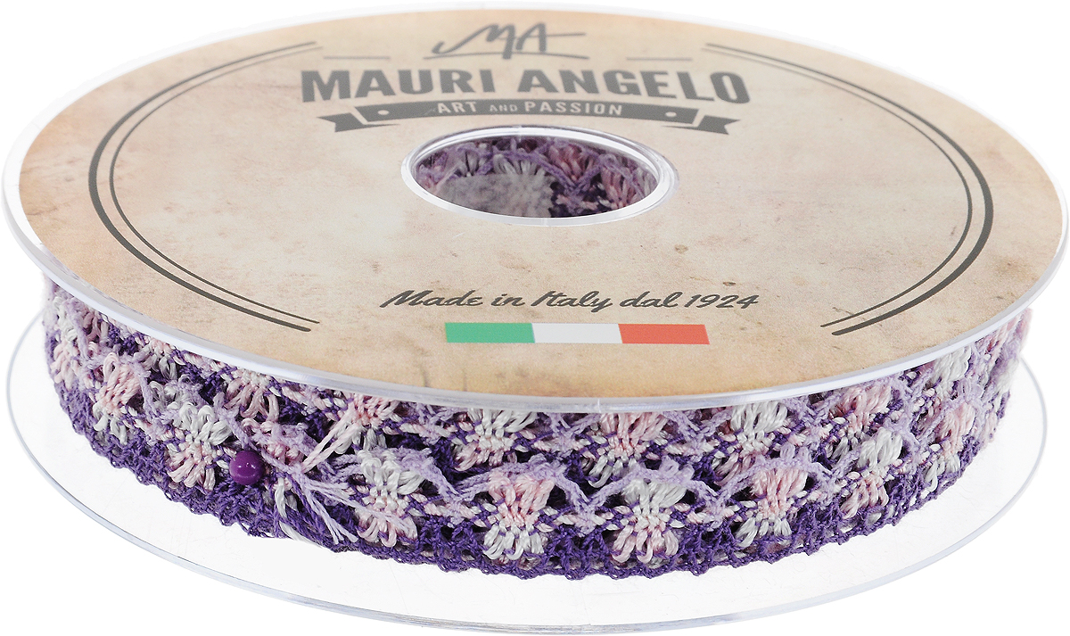 Лента кружевная Mauri Angelo, цвет: фиолетовый, розовый, сиреневый, 1,8 см х 20 м. MR8849/MC/6SS 4041Декоративная кружевная лента Mauri Angelo - текстильное изделие без тканой основы, в котором ажурный орнамент и изображения образуются в результате переплетения нитей. Кружево применяется для отделки одежды, белья в виде окаймления или вставок, а также в оформлении интерьера, декоративных панно, скатертей, тюлей, покрывал. Главные особенности кружева - воздушность, тонкость, эластичность, узорность.Декоративная кружевная лента Mauri Angelo станет незаменимым элементом в создании рукотворного шедевра. Ширина: 1,8 см.Длина: 20 м.