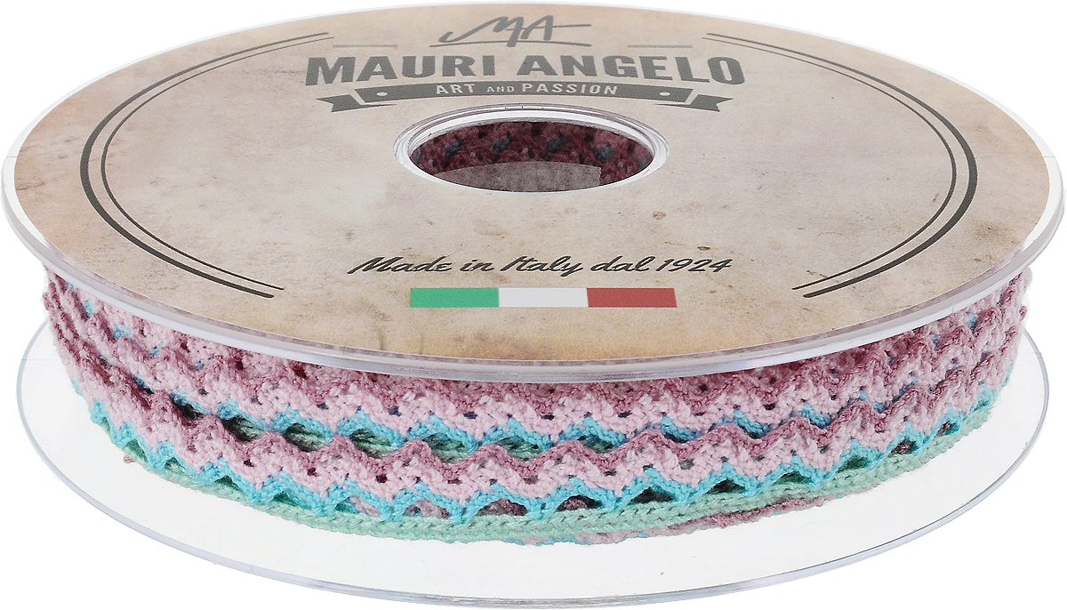 Лента кружевная Mauri Angelo, цвет: розовый, голубой, зеленый, 1,45 см х 20 мNLED-454-9W-BKДекоративная кружевная лента Mauri Angelo - текстильное изделие без тканой основы, в котором ажурный орнамент и изображения образуются в результате переплетения нитей. Кружево применяется для отделки одежды, белья в виде окаймления или вставок, а также в оформлении интерьера, декоративных панно, скатертей, тюлей, покрывал. Главные особенности кружева - воздушность, тонкость, эластичность, узорность.Декоративная кружевная лента Mauri Angelo станет незаменимым элементом в создании рукотворного шедевра. Ширина: 1,45 см.Длина: 20 м.