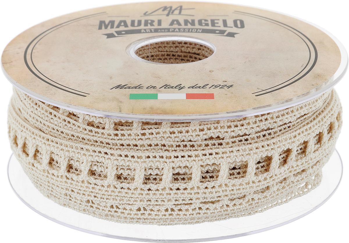 Лента кружевная Mauri Angelo, цвет: бежевый, 1,9 см х 20 мNLED-454-9W-BKДекоративная кружевная лента Mauri Angelo - текстильное изделие без тканой основы, в котором ажурный орнамент и изображения образуются в результате переплетения нитей. Кружево применяется для отделки одежды, белья в виде окаймления или вставок, а также в оформлении интерьера, декоративных панно, скатертей, тюлей, покрывал. Главные особенности кружева - воздушность, тонкость, эластичность, узорность.Декоративная кружевная лента Mauri Angelo станет незаменимым элементом в создании рукотворного шедевра. Ширина: 1,9 см.Длина: 20 м.