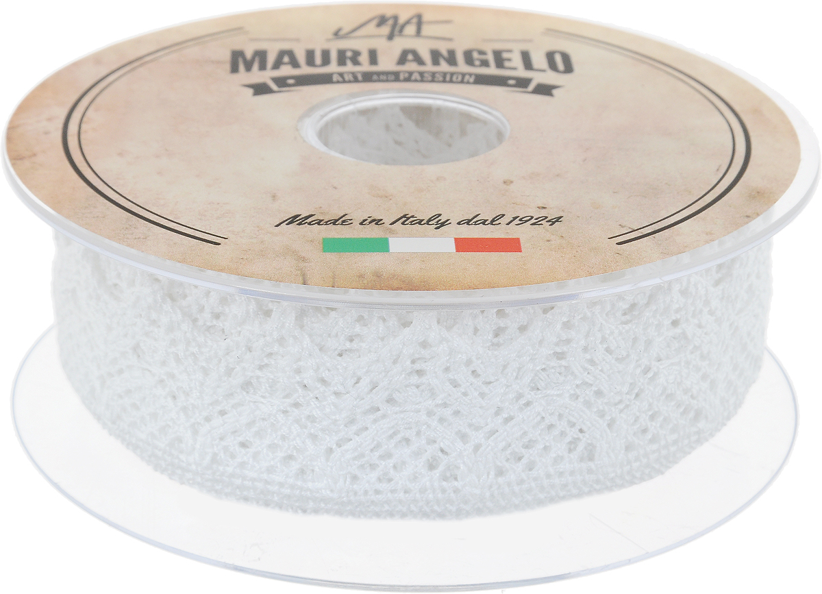 Лента кружевная Mauri Angelo, цвет: белый, 3,7 см х 10 м97775318Декоративная кружевная лента Mauri Angelo - текстильное изделие без тканой основы, в котором ажурный орнамент и изображения образуются в результате переплетения нитей. Кружево применяется для отделки одежды, белья в виде окаймления или вставок, а также в оформлении интерьера, декоративных панно, скатертей, тюлей, покрывал. Главные особенности кружева - воздушность, тонкость, эластичность, узорность.Декоративная кружевная лента Mauri Angelo станет незаменимым элементом в создании рукотворного шедевра. Ширина: 3,7 см.Длина: 10 м.