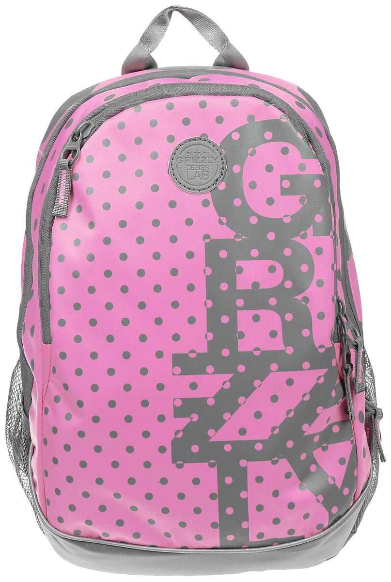 Рюкзак городской женский Grizzly, цвет: розовый, серый, 22 л. RD-740-1/2Z9BP02Рюкзак городской Grizzl выполнен из высококачественного нейлона, который не пропускает воду. Изделие оформлено оригинальным принтом. На лицевой стороне расположен вместительный карман на молнии, который содержит карман с сеткой на молнии и три открытых накладных кармана для телефона, мелочей и канцелярских товаров. Также на лицевой стороне находится вшитый карман на молнии. Рюкзак оснащен двумя боковыми карманами для переноски бутылок с водой. Изделие закрывается на застежку-молнию. Внутри расположено главное вместительное отделение, которое содержит карман на молнии.