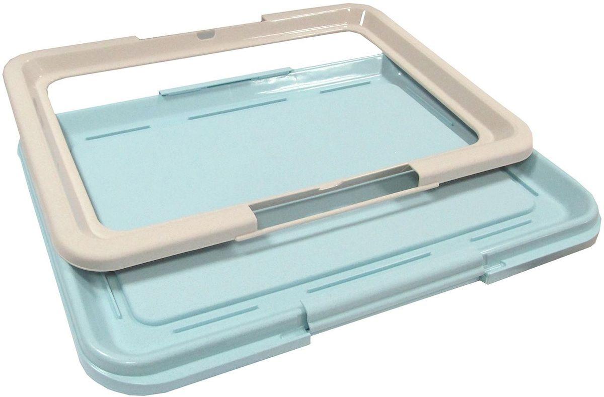 Туалет-лоток для собак OUT!, большой, с фиксатором, цвет: серо-бирюзовый, 64 х 48 х 3,5 см0120710Туалет-лоток для собак OUT!, изготовленный из нетоксичного пластика, предназначен для взрослых собак и щенков. Гигиеническая пелёнка помещается под решетку, которая удерживается боковыми фиксаторами. Туалет легко моется водой.Размер туалета: 64 х 48 х 3,5 см.