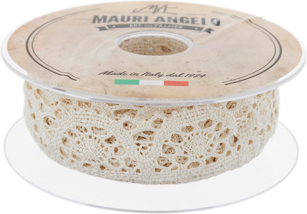 Лента кружевная Mauri Angelo, цвет: бежевый, 3 см х 10 мNLED-454-9W-BKДекоративная кружевная лента Mauri Angelo - текстильное изделие без тканой основы, в котором ажурный орнамент и изображения образуются в результате переплетения нитей. Кружево применяется для отделки одежды, белья в виде окаймления или вставок, а также в оформлении интерьера, декоративных панно, скатертей, тюлей, покрывал. Главные особенности кружева - воздушность, тонкость, эластичность, узорность.Декоративная кружевная лента Mauri Angelo станет незаменимым элементом в создании рукотворного шедевра. Ширина: 3 см.Длина: 10 м.