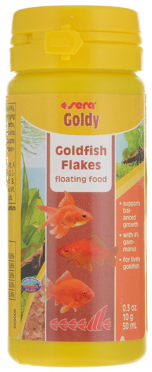 Корм для золотых рыбок Sera Goldy, хлопья, 50 мл (10 г)24639Корм Sera Goldy - основной корм, который состоит из плавающих хлопьев, произведенных путем бережной обработки сырья. Корм предназначен для небольших золотых рыбок. Благодаря тщательно подобранным ингредиентам растительного и животного происхождения, корм является привлекательным для рыб, легко усваивается, способствует их сбалансированному росту и активности.Этот основной корм предотвращает проблемы пищеварения, специфические для этих видов, и снабжает рыб всеми питательными веществами, необходимыми для здорового роста.Товар сертифицирован.