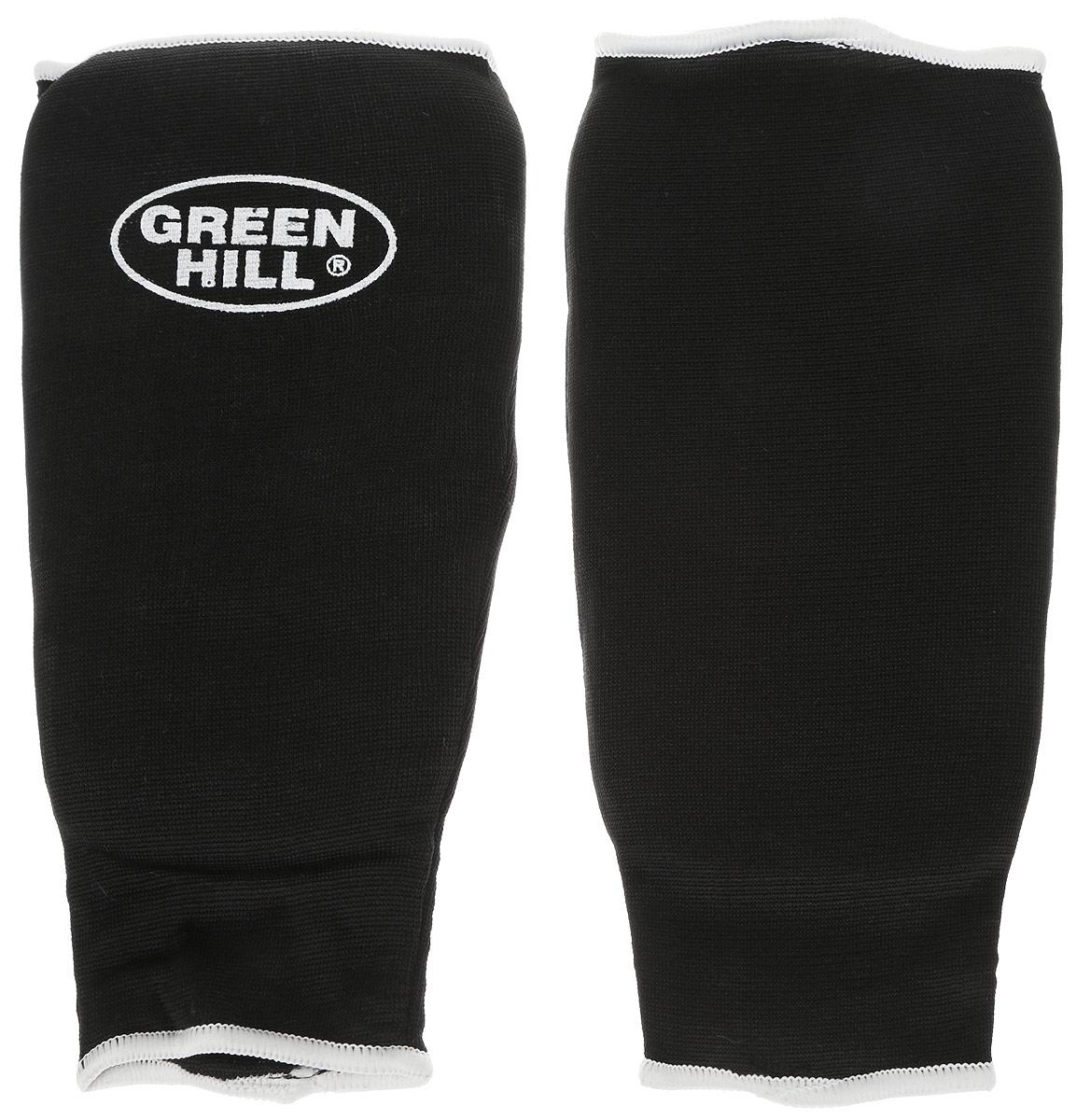 Защита голени Green Hill, цвет: черный, белый. Размер S. SPC-6210SPC-6210Защита голени Green Hill с наполнителем, выполненным из вспененного полимера, необходима при занятиях спортом для защиты суставов от вывихов, ушибов и прочих повреждений. Накладки выполнены из высококачественного эластана и хлопка.Длина голени: 23,5 см.Ширина голени: 14 см.