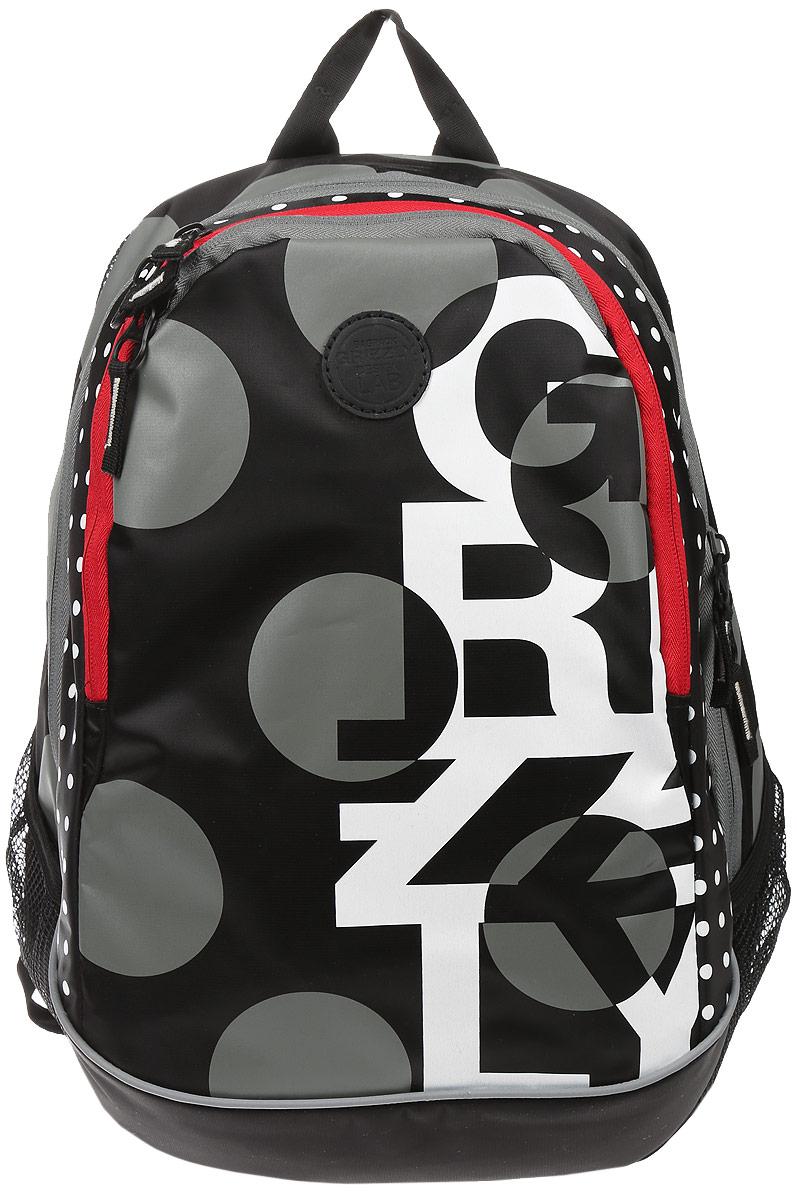 Рюкзак городской Grizzly, цвет: черный, серый, белый, 22 л. RD-740-1/5RivaCase 7560 redРюкзак городской Grizzl выполнен из высококачественного нейлона, который не пропускает воду. Изделие оформлено оригинальным принтом. На лицевой стороне расположен вместительный карман на молнии, который содержит карман с сеткой на молнии и три открытых накладных кармана для телефона, мелочей и канцелярских товаров. Также на лицевой стороне находится вшитый карман на молнии. Рюкзак оснащен двумя боковыми карманами для переноски бутылок с водой. Изделие закрывается на застежку-молнию. Внутри расположено главное вместительное отделение, которое содержит карман на молнии.