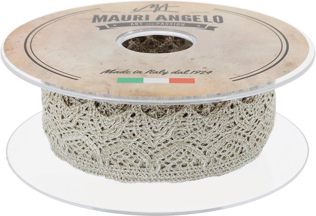 Лента кружевная Mauri Angelo, цвет: серый, белый, 3,7 см х 10 мNLED-454-9W-BKДекоративная кружевная лента Mauri Angelo - текстильное изделие без тканой основы, в котором ажурный орнамент и изображения образуются в результате переплетения нитей. Кружево применяется для отделки одежды, белья в виде окаймления или вставок, а также в оформлении интерьера, декоративных панно, скатертей, тюлей, покрывал. Главные особенности кружева - воздушность, тонкость, эластичность, узорность.Декоративная кружевная лента Mauri Angelo станет незаменимым элементом в создании рукотворного шедевра. Ширина: 3,7 см.Длина: 10 м.