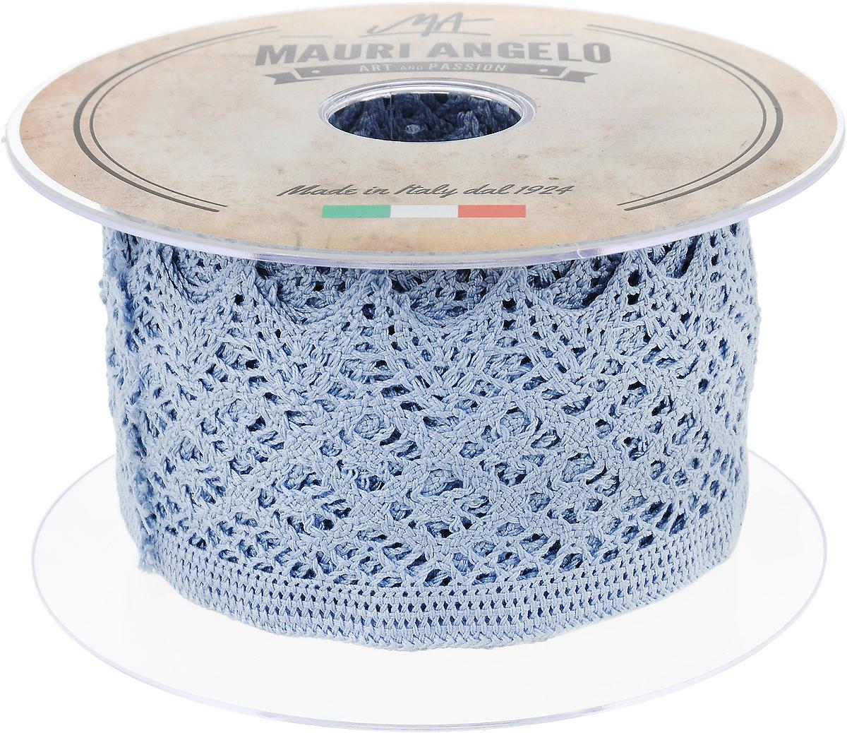 Лента кружевная Mauri Angelo, цвет: голубой, 5,9 см х 10 м97775318Декоративная кружевная лента Mauri Angelo - текстильное изделие без тканой основы, в котором ажурный орнамент и изображения образуются в результате переплетения нитей. Кружево применяется для отделки одежды, белья в виде окаймления или вставок, а также в оформлении интерьера, декоративных панно, скатертей, тюлей, покрывал. Главные особенности кружева - воздушность, тонкость, эластичность, узорность.Декоративная кружевная лента Mauri Angelo станет незаменимым элементом в создании рукотворного шедевра. Ширина: 5,9 см.Длина: 10 м.