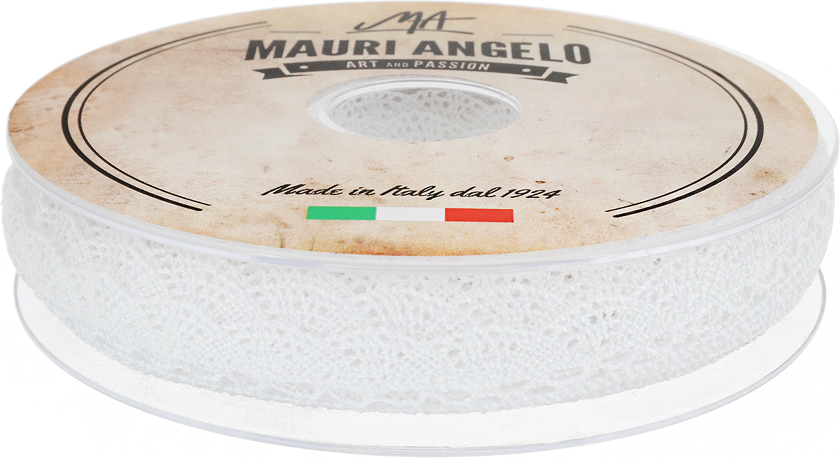 Лента кружевная Mauri Angelo, цвет: белый, 1,6 см х 20 мC0042416Декоративная кружевная лента Mauri Angelo - текстильное изделие без тканой основы, в котором ажурный орнамент и изображения образуются в результате переплетения нитей. Кружево применяется для отделки одежды, белья в виде окаймления или вставок, а также в оформлении интерьера, декоративных панно, скатертей, тюлей, покрывал. Главные особенности кружева - воздушность, тонкость, эластичность, узорность.Декоративная кружевная лента Mauri Angelo станет незаменимым элементом в создании рукотворного шедевра. Ширина: 1,6 см.Длина: 20 м.