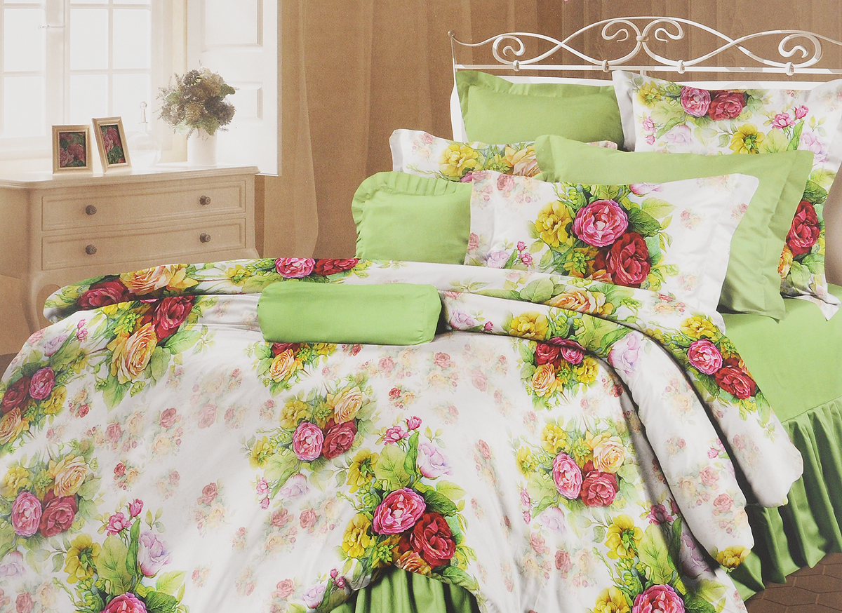 Комплект белья Романтика Розелла, семейный, наволочки 70x70391602Роскошный комплект постельного белья Романтика Розелла выполнен из ткани Lux Перкаль, произведенной из натурального 100% хлопка. Ткань приятная на ощупь, при этом она прочная, хорошо сохраняет форму и легко гладится. Комплект состоит из двух пододеяльников, простыни и двух наволочек и оформлен цветочным принтом. Благодаря такому комплекту постельного белья вы создадите неповторимую и романтическую атмосферу в вашей спальне.