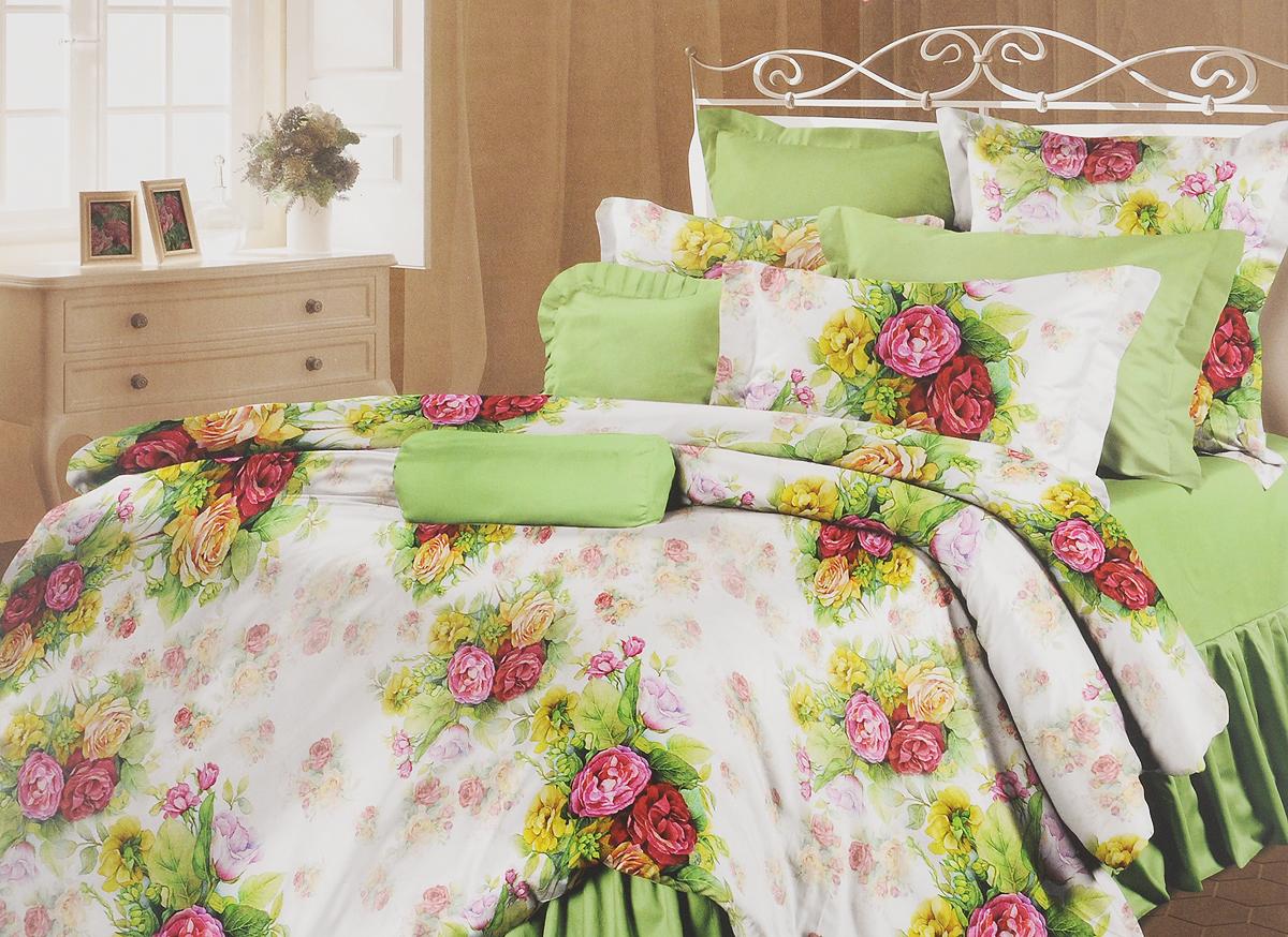 Комплект белья Романтика Розелла, 1,5-спальный, наволочки 70x70361024Роскошный комплект постельного белья Романтика Розелла выполнен из ткани Lux Перкаль, произведенной из натурального 100% хлопка. Ткань приятная на ощупь, при этом она прочная, хорошо сохраняет форму и легко гладится. Комплект состоит из пододеяльника, простыни и двух наволочек и оформлен цветочным принтом. Благодаря такому комплекту постельного белья вы создадите неповторимую и романтическую атмосферу в вашей спальне.