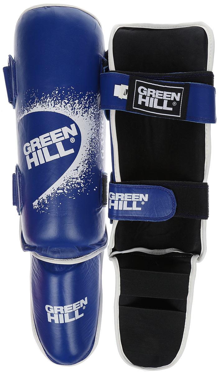 Защита голени и стопы Green Hill Classic, цвет: синий, черный. Размер M. SIC-0019SIC-2141Защита голени и стопы Green Hill Classic с наполнителем, выполненным из вспененного полимера, необходима при занятиях спортом для защиты пальцев и суставов от вывихов, ушибов и прочих повреждений. Накладки выполнены из высококачественной натуральной кожи. Они надежно фиксируются за счет ленты и липучек.Удобные и эргономичные накладки Green Hill Classic идеально подойдут для занятий тхэквондо и другими видами единоборств.Длина голени: 33 см.Ширина голени: 13 см.Длина стопы: 19 см.Ширина стопы: 11,5 см.