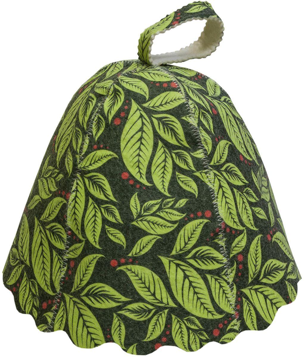 Шапка для бани и сауны Банные штучки Листья41139Банная шапка Банные штучки из войлока. Банная шапка - это незаменимый аксессуар для любителей попариться в русской бане и для тех, кто предпочитает сухой жар финской бани. Кроме того, шапка защитит волосы от сухости и ломкости, и предотвратит тепловой удар. На шапке имеется петелька, с помощью которой ее можно повесить на крючок в предбаннике. Такая шапка станет отличным подарком длялюбителей отдыха в бане или сауне.Размер: универсальный.
