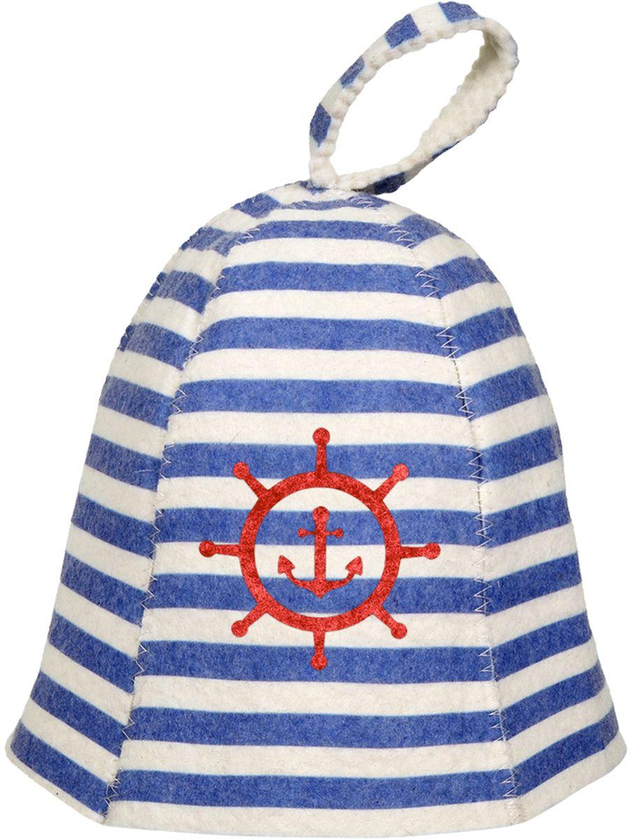Шапка для бани и сауны Банные штучки Морская531-402Банная шапка Банные штучки из войлока. Банная шапка - это незаменимый аксессуар для любителей попариться в русской бане и для тех, кто предпочитает сухой жар финской бани. Кроме того, шапка защитит волосы от сухости и ломкости, и предотвратит тепловой удар. На шапке имеется петелька, с помощью которой ее можно повесить на крючок в предбаннике. Такая шапка станет отличным подарком длялюбителей отдыха в бане или сауне.Размер: универсальный.