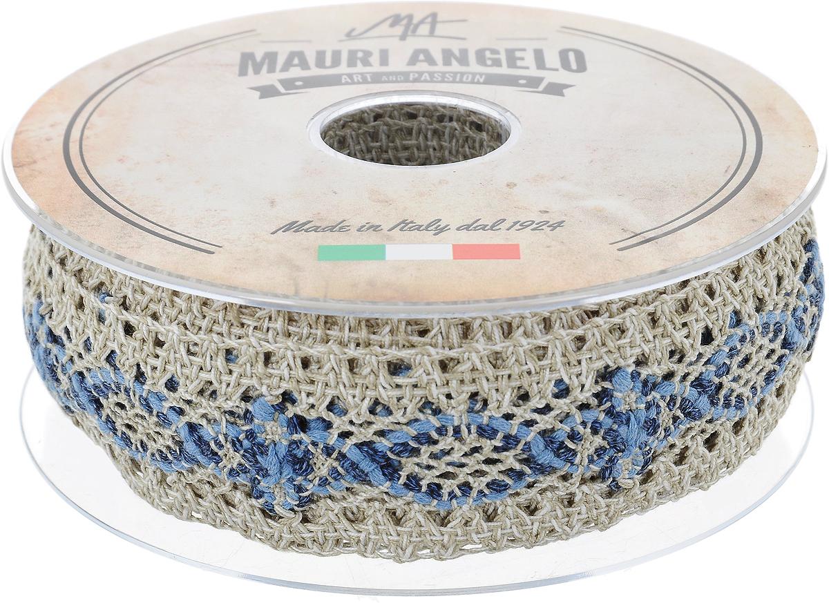 Лента кружевная Mauri Angelo, цвет: серый, синий, белый, 3,6 см х 10 мGC220/05Декоративная кружевная лента Mauri Angelo - текстильное изделие без тканой основы, в котором ажурный орнамент и изображения образуются в результате переплетения нитей. Кружево применяется для отделки одежды, белья в виде окаймления или вставок, а также в оформлении интерьера, декоративных панно, скатертей, тюлей, покрывал. Главные особенности кружева - воздушность, тонкость, эластичность, узорность.Декоративная кружевная лента Mauri Angelo станет незаменимым элементом в создании рукотворного шедевра. Ширина: 3,6 см.Длина: 10 м.