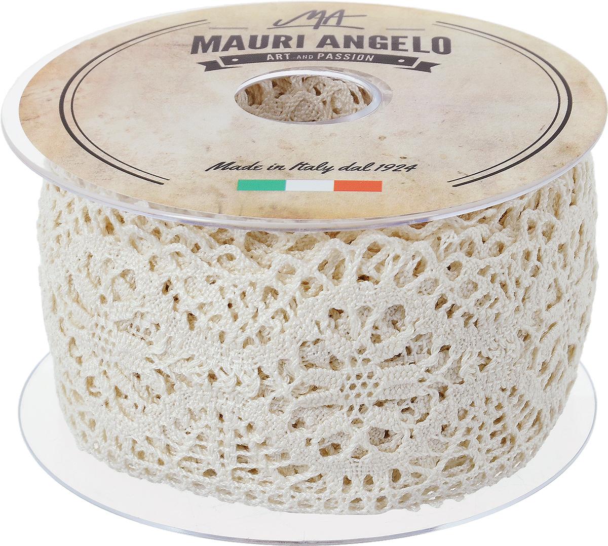 Лента кружевная Mauri Angelo, цвет: бежевый, 6,3 см х 10 мNLED-454-9W-BKДекоративная кружевная лента Mauri Angelo - текстильное изделие без тканой основы, в котором ажурный орнамент и изображения образуются в результате переплетения нитей. Кружево применяется для отделки одежды, белья в виде окаймления или вставок, а также в оформлении интерьера, декоративных панно, скатертей, тюлей, покрывал. Главные особенности кружева - воздушность, тонкость, эластичность, узорность.Декоративная кружевная лента Mauri Angelo станет незаменимым элементом в создании рукотворного шедевра. Ширина: 6,3 см.Длина: 10 м.