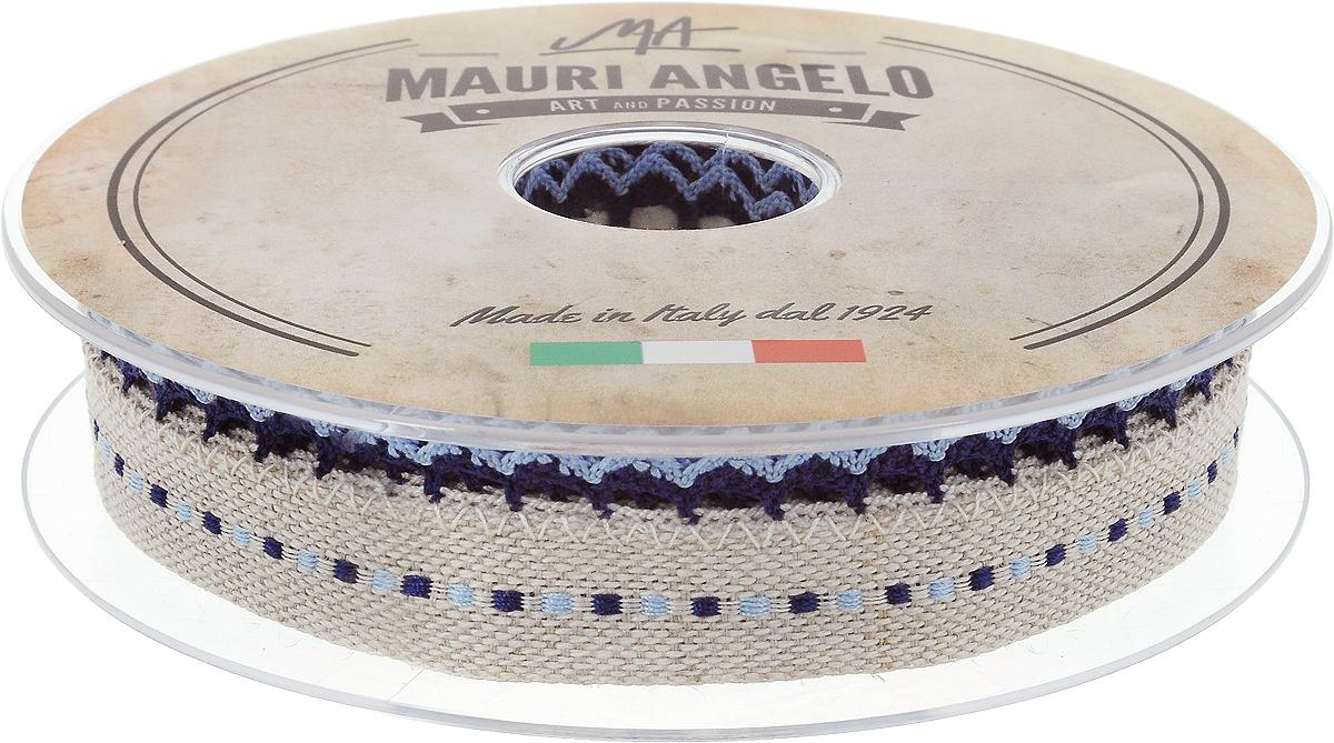 Лента декоративная Mauri Angelo, цвет: бежевый, синий, 2,4 см х 10 м19201Декоративная лента Mauri Angelo - текстильное изделие без тканой основы. Одна сторона декорирована кружевами. Лента применяется для отделки одежды, белья в виде окаймления или вставок, а также в оформлении интерьера, декоративных панно, скатертей, тюлей, покрывал.Декоративная лента Mauri Angelo станет незаменимым элементом в создании рукотворного шедевра. Ширина: 2,4 см.Длина: 10 м.