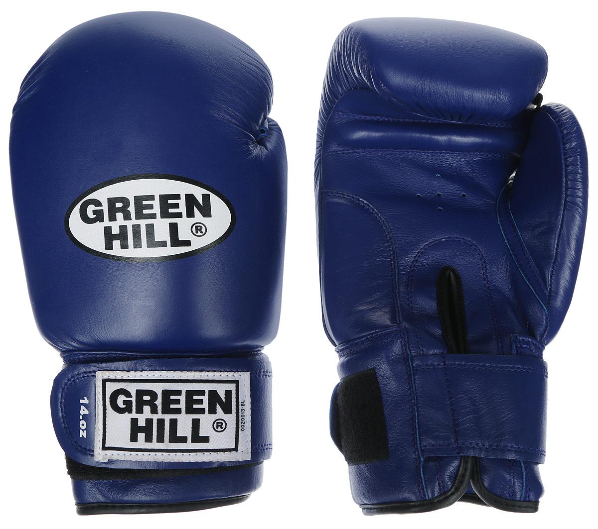 Перчатки боксерские Green Hill Super Star, цвет: синий, белый. Вес 12 унций. BGS-1213сBGPS-2012Боксерские перчатки Green Hill Super Star предназначены для использования профессионалами. Подойдут для спаррингов и соревнований. Верх выполнен из натуральной кожи, наполнитель - из вспененного полимера. Отверстие в области ладони позволяет создать максимально комфортный терморежим во время занятий. Манжет на липучке способствует быстрому и удобному надеванию перчаток, плотно фиксирует перчатки на руке.
