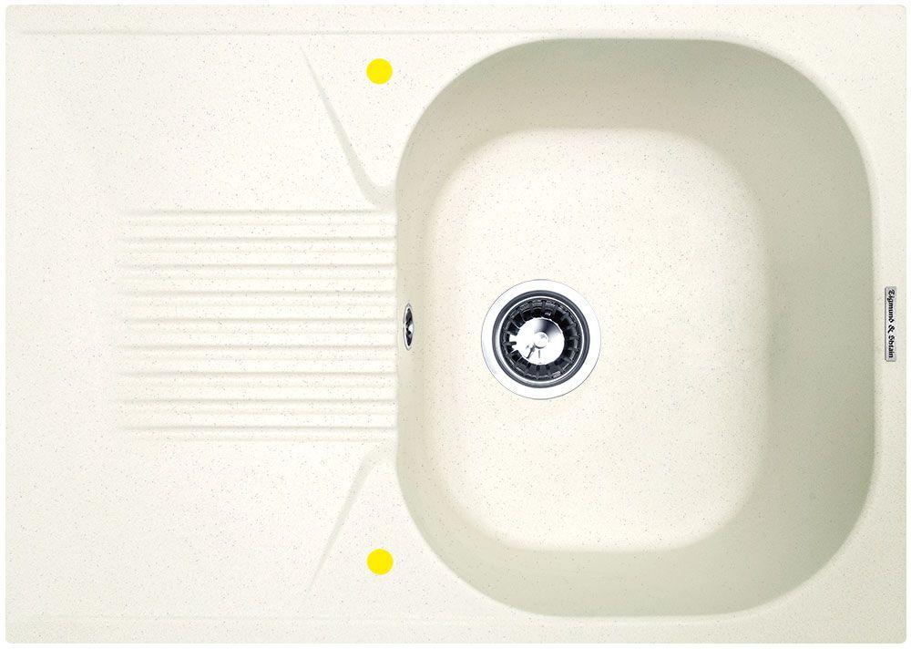 Мойка кухонная Zigmund & Shtain Klassisch 695, врезная, 1 чаша, крыло, цвет: каменная сольBL505Zigmund & Shtain KLASSISCH 695, кухонная мойка, иск.гранит, 1чаша-крыло, форма-квадрат, глубина -21 см, ЦВЕТ каменная соль