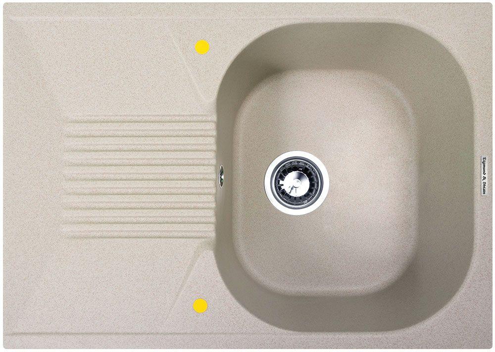 Мойка кухонная Zigmund & Shtain Klassisch 695, врезная, 1 чаша, крыло, цвет: осенняя траваV21B782i87Zigmund & Shtain KLASSISCH 695, кухонная мойка, иск.гранит, 1чаша-крыло, форма-квадрат, глубина -21 см, ЦВЕТ осенняя трава