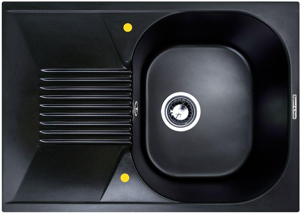 Мойка кухонная Zigmund & Shtain Klassisch 695, врезная, 1 чаша, крыло, цвет: черный базальтV23P782i87Zigmund & Shtain KLASSISCH 695, кухонная мойка, иск.гранит, 1чаша-крыло, форма-квадрат, глубина -21 см, ЦВЕТ черный базальт