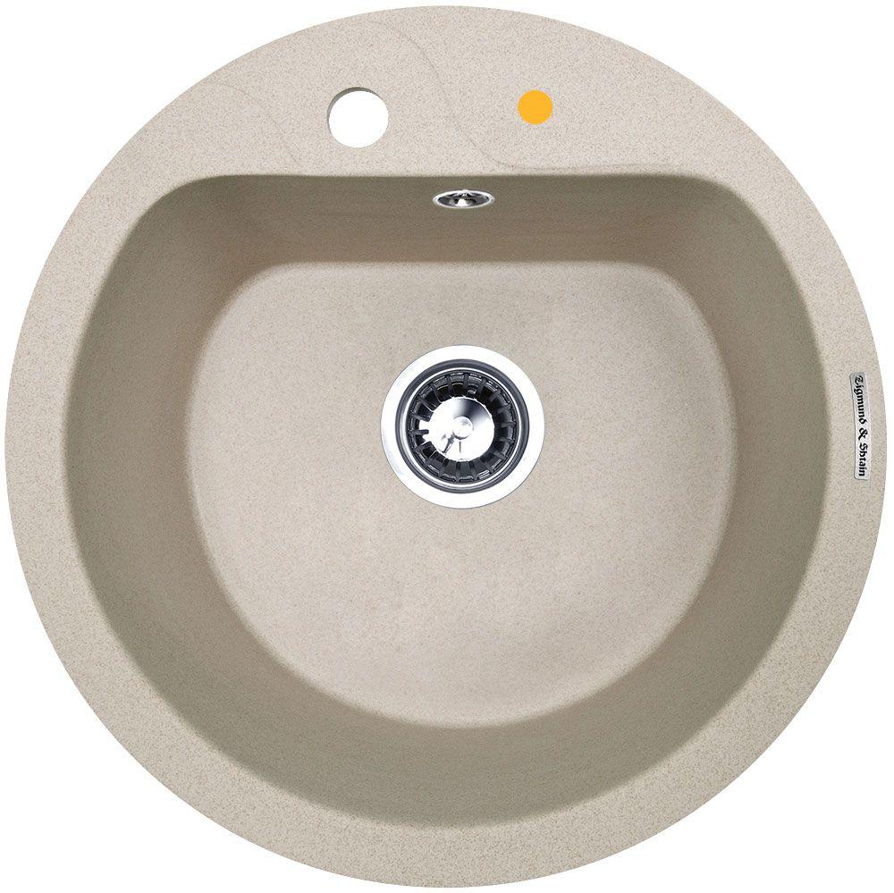 Мойка кухонная Zigmund & Shtain Kreis 505 F, врезная, 1 чаша, цвет: осенняя трава13296Zigmund & Shtain KREIS 505 F, кухонная мойка, иск.гранит, 1чаша, форма круглая, глубина -21 см, ЦВЕТ осенняя трава
